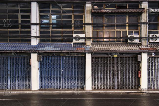 Bangkok, Bangkok, Thailand - April 2, 2020: closed shop in Bangkok's China town area