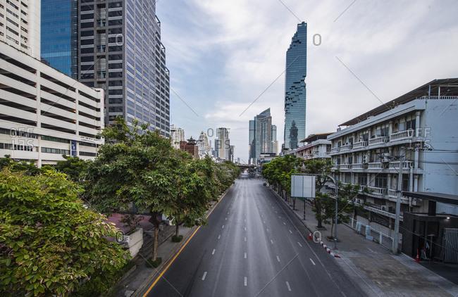 Bangkok, Bangkok, Thailand - April 5, 2020: empty street in Bangkok's CBD area