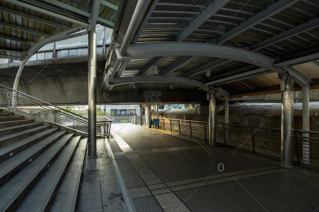 Empty walkway at Chong Nonsi Station in Bangkok's CBD area