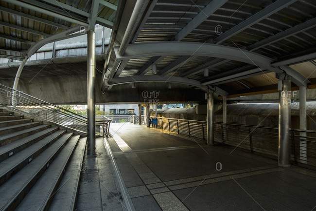 Empty walkway at Chong Nonsi Station in Bangkok's CBD area