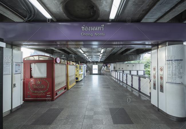 Bangkok, Bangkok, Thailand - April 5, 2020: empty BTS skytrain station at Chong Nonsi - Bangkok