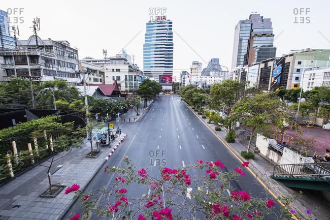 Bangkok, Bangkok, Thailand - April 5, 2020: empty street at Bangkok's CBD area