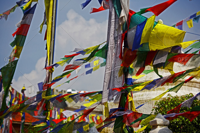 Kathmandu, Central Development Region, Nepal - September 10, 2007: Tibetan prayer-flags in the wind