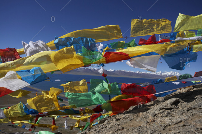 Tibetan prayer flags in the wind