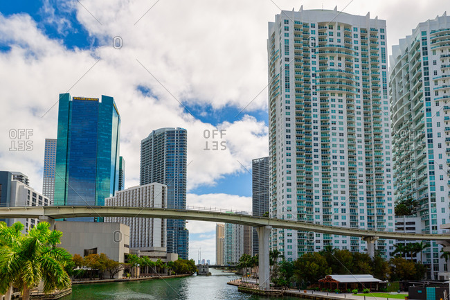 Miami, FL, United States - March 28, 2020: Cityscape Skyline of Buildings in the Brickell Financial District, FL