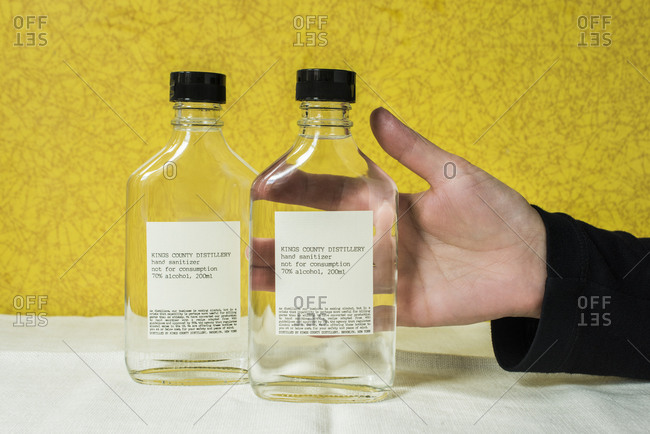 Brooklyn, New York, USA - March 28, 2020: Bottles of hand sanitizer produced by Kings County Distillery.