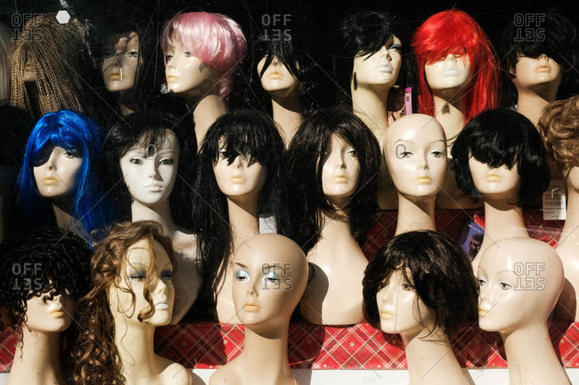 Mannequin heads with a various styles of wigs