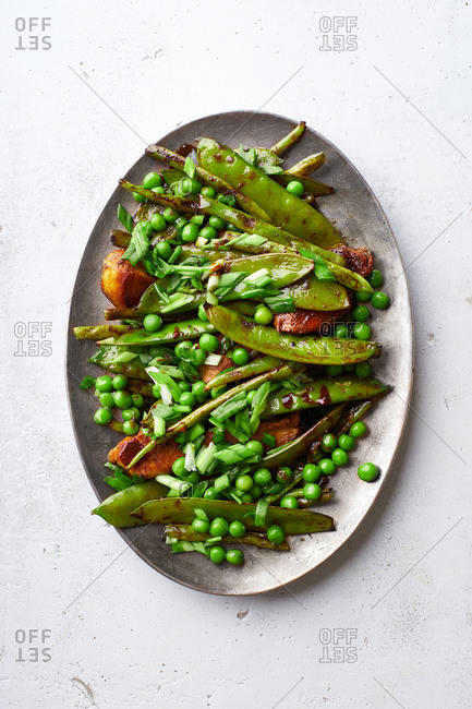 Chicken stir-fry with snow peas and green beans in miso sauce