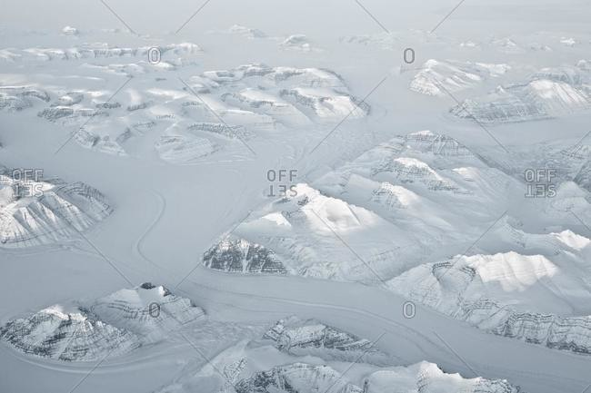 Aerial view of Snowcapped mountains, Greenland