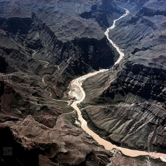 Aerial view of river flowing through a canyon, Kansas, USA