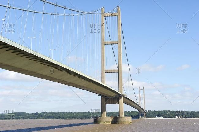 Humber Bridge across the Humber Estuary, Humberside, England, UK