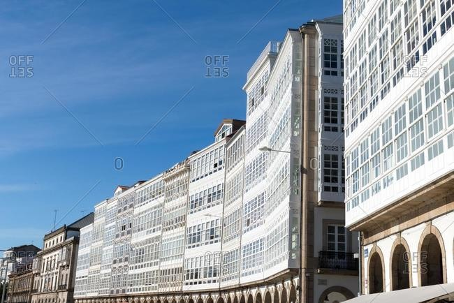 Traditional seafront buildings, Montoto Avenue, La Coruna, Galicia, Spain