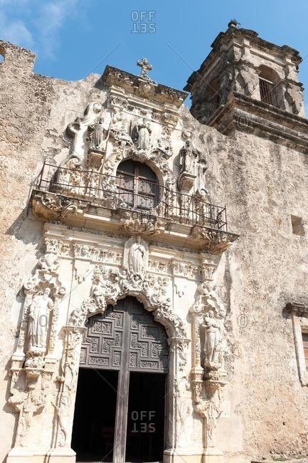 Facade of Mission San Jose, San Antonio, Texas, USA