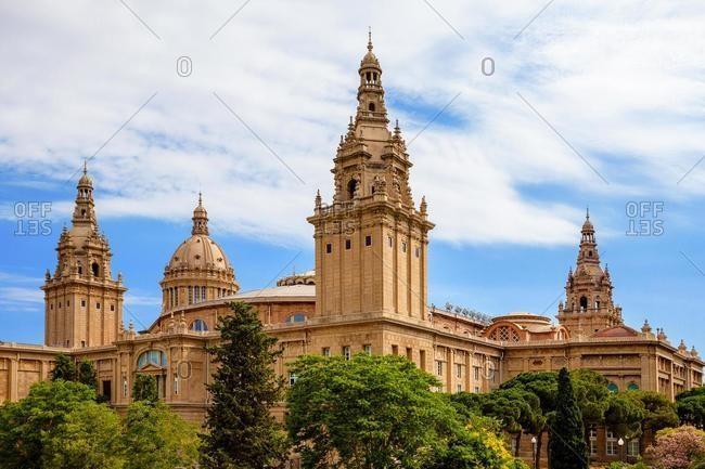 Towers and Central Dome of Palau Nacional, Barcelona, Catalonia, Spain