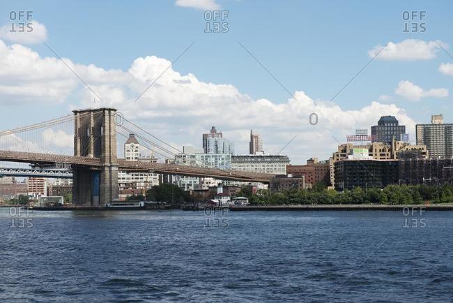 April 9, 2020: Brooklyn Bridge and Brooklyn skyline, New York, USA