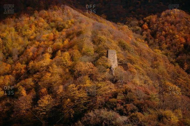 Abandoned tower in mountains, Kazbegi, Georgia