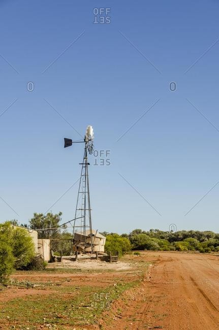 Traditional windmill in the Desert near Kalgoorlie, Western Australia, Australia