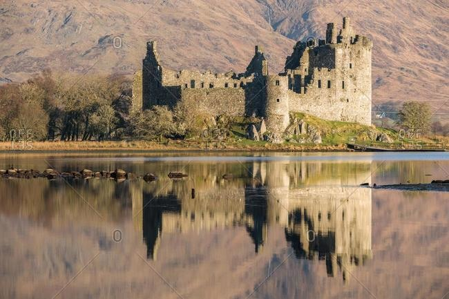 Kilchurn Castle ruins at the edge of Loch Awe, Argyll and Bute, Scotland, UK