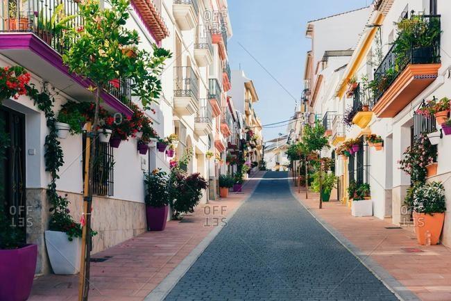Picturesque residential street, Estepona, Malaga, Andalucia, Spain