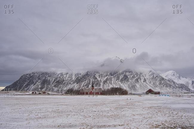 Remote church, Flakstad, Lofoten, Nordland, Norway