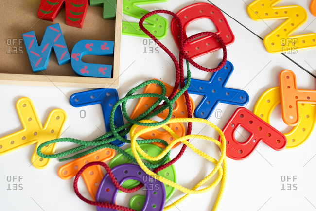Colorful plastic letters in a school