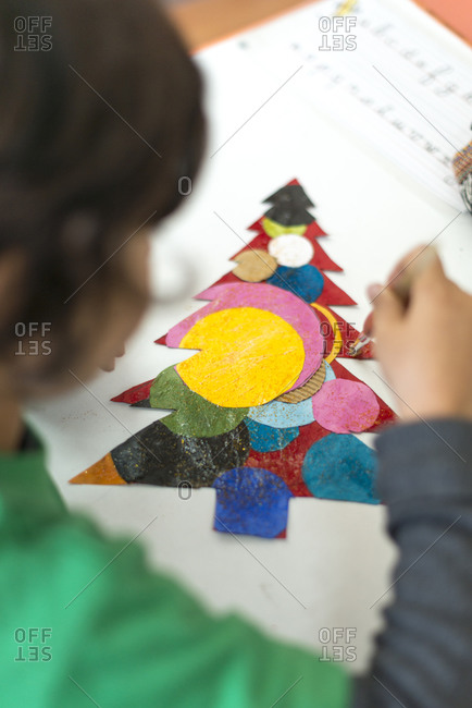 Child working on arts and craft at school