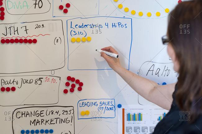 Helsinki, Finland - September 5, 2012: A business student at Aalto University in Helsinki draws on a whiteboard