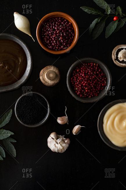 Variety of ingredients on dark background