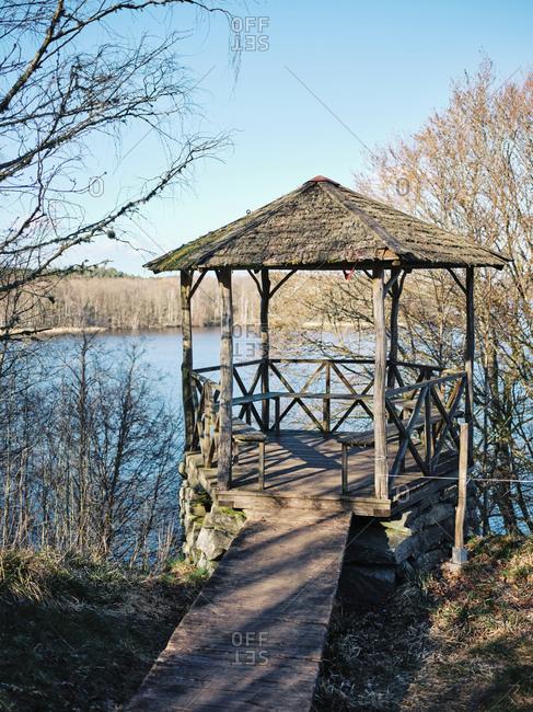 Gazebo on the edge of a lake