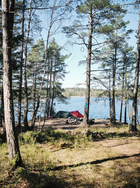 Lakeside campsite in the Boreal Forest in Sweden