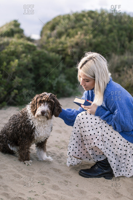 Side view of happy young female in casual sweater and skirt holding book and stroking adorable curly dog while spending free time on sandy beach with green plants in background