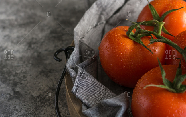 From above of wet clean tomatoes placed on gray fabric napkin on grey concrete table background
