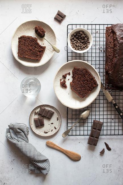 Piece of banana and chocolate cake