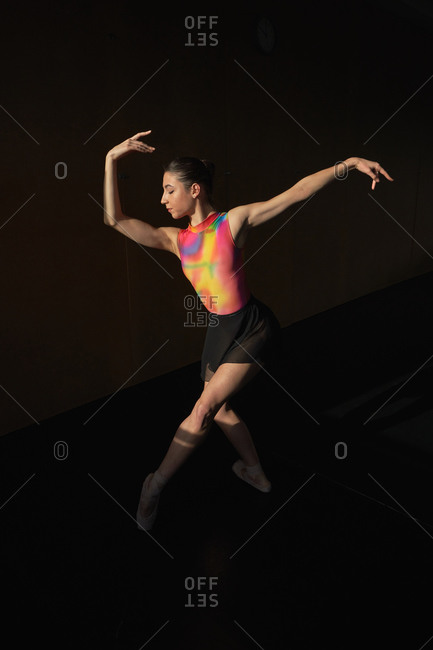 Warm-up and rehearsal of a professional ballet dancer
