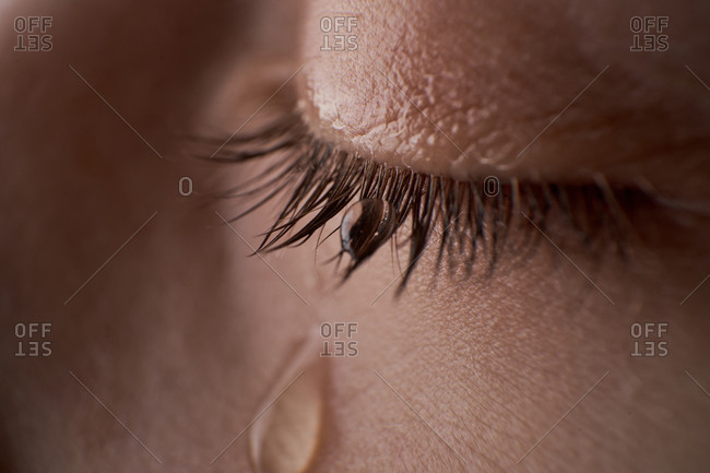 Close up image of human eye with tear drops