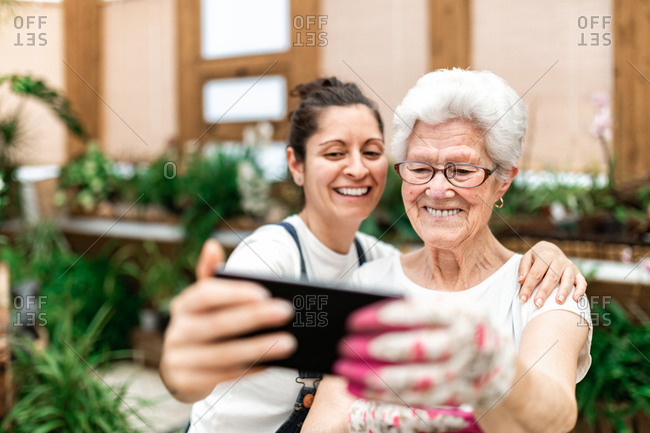 Happy adult woman smiling and taking selfie with elderly colleague while working in hothouse together