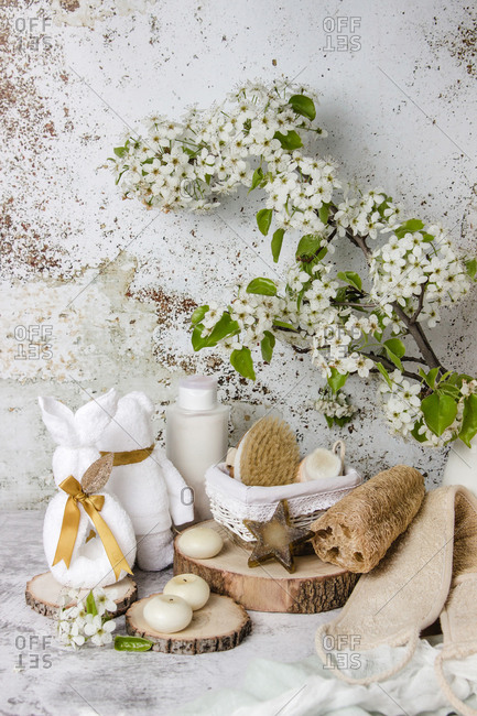 Eco friendly bathroom accessories and natural cosmetic products placed on table with blooming tree branch