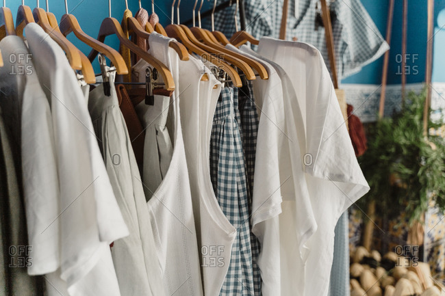 Morocco- T-shirts and tank tops hanging on clothes rack