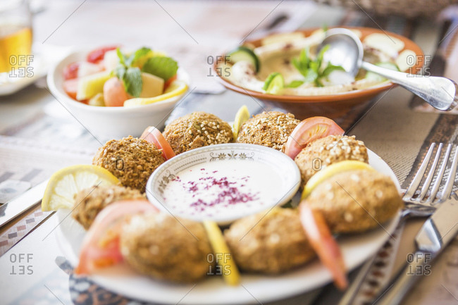 Oman- Plate of Middle Eastern food