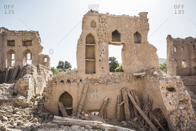 Oman- Ad Dakhiliyah- Izki- Wall of old ruined building