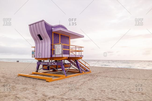 Art Deco style lifeguard hut on Miami Beach- Miami- Florida- USA