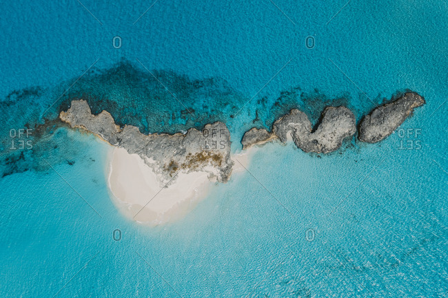 Caribbean- Bahamas- Drone view of deserted island in the Exumas