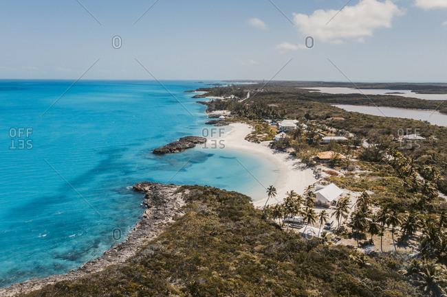 Caribbean- Bahamas- Exuma- Drone view of Pretty Molly Beach