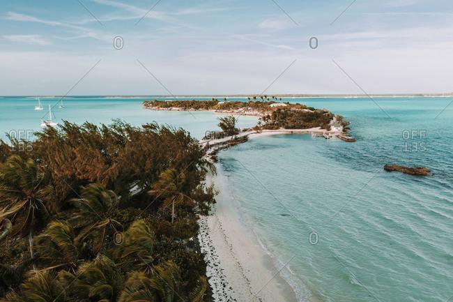 Caribbean- Bahamas- Drone view of the North Eastern coast of Exuma