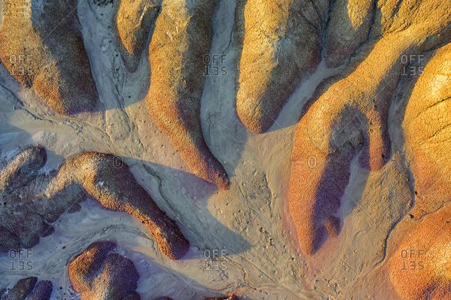 Spain- Navarre- Aerial view of rock formations of Bardenas Reales badlands