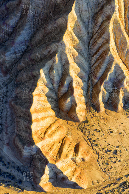 Spain- Navarre- Aerial view of rock formations of Bardenas Reales badlands