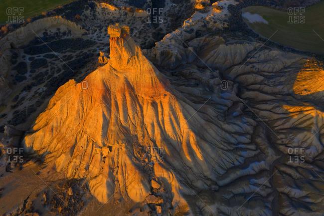 Spain- Navarre- Aerial view of Castildetierra rock pinnacle at dusk
