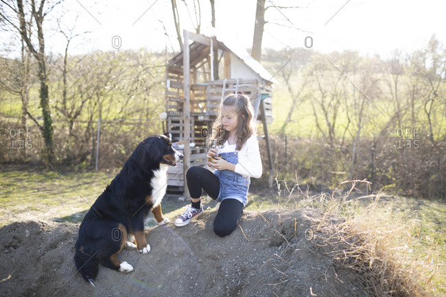 Girl playing in the garden with her dog
