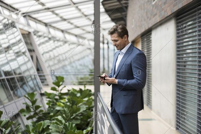 Businessman using smartphone in green atrium