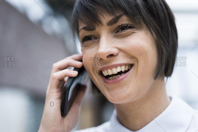 Successful businesswoman talking on the phone- portrait